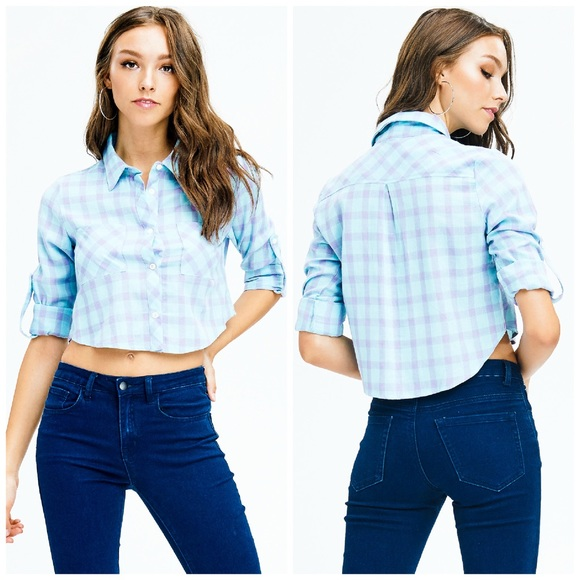 Makers of Dreams Tops - NEW! Blue & Lavender Checked Button-Up Crop Top
